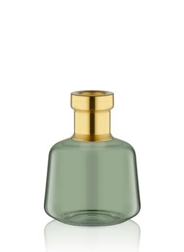 The Mia Cam Vazo Yeşil Gold Dekorlu 14*10 Cm Altın